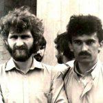 """Алесь Бяляцкі і Сяржук Сыс на рэспубліканскай нарадзе """"Тутэйшых"""" 15 траўня 1988 года. Фота Алеся Аркуша."""