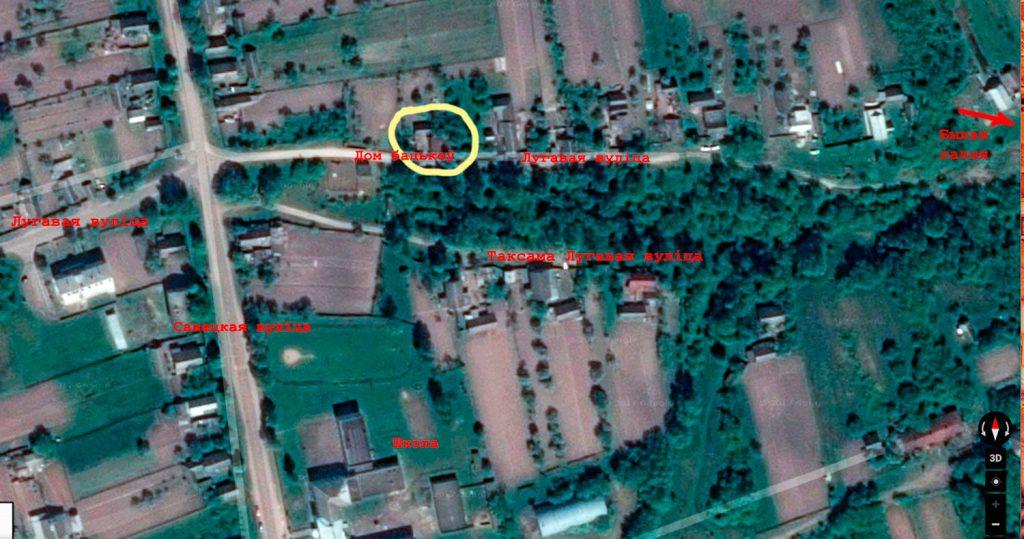 Вуліца Лугавая на гуглаўскай мапе.